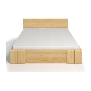 Pat dublu din lemn de pin, cu sertar, SKANDICA Vestre Maxi, 140 x 200 cm