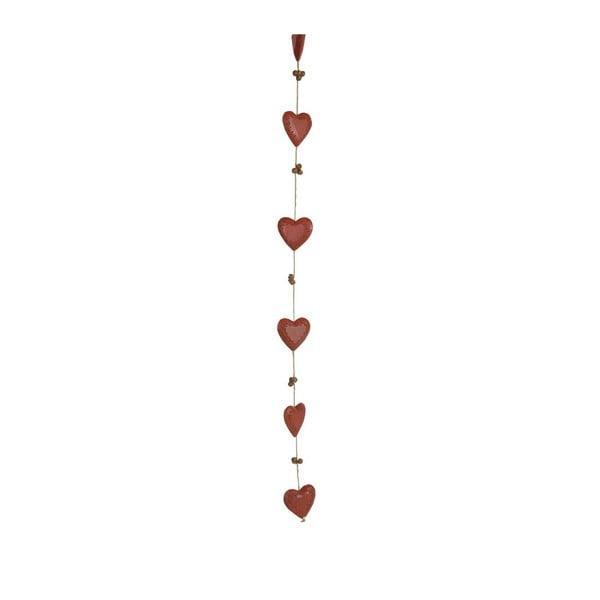 Girlanda 5 červených srdíček Antic Line Bells & Hearts Red