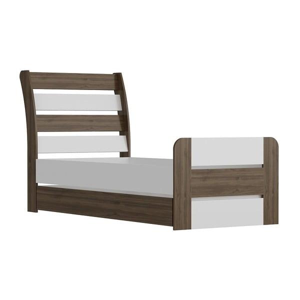 Łóżko jednoosobowe Poli Walnut White, 104x201 cm