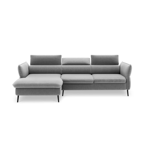 Canapea extensibilă pentru 5 persoane, cu spațiu pentru depozitare Milo Casa Dario, colț pe stânga, gri deschis
