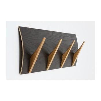 Cuier de perete din lemn masiv Woodman Rack Black Oak Large de la Woodman