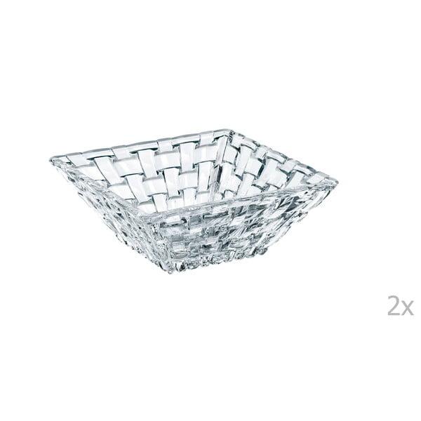 Sada 2 čtvercových mís z křišťálového skla Nachtmann Bossa Nova, 12 x 12 cm