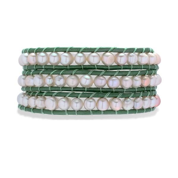 Tmavozeleno-bílý kožený náramek s perlami Nova Pearls Copenhagen Néreus