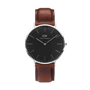 Unisex hodinky s hnědým páskem Daniel Wellington St Mawes Silver, ⌀40mm