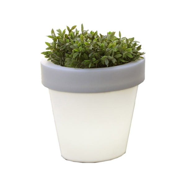 Bílý květináč s podsvícením Tomasucci Classic, Ø45cm