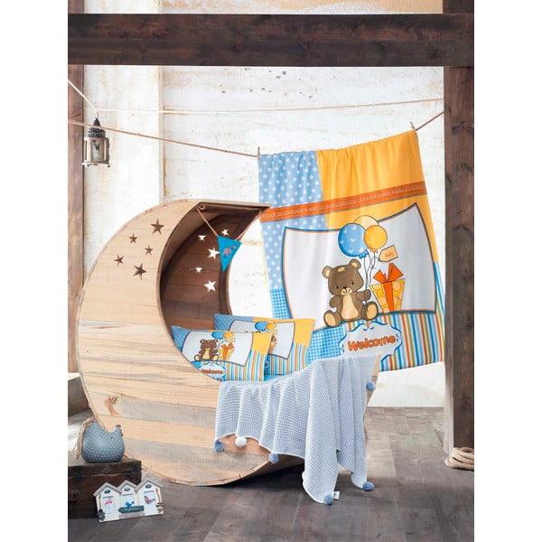Set dětského povlečení a prostěradla s pletenou dekou Sweet Bear, 100x150 cm