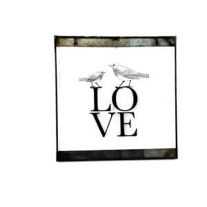 Skleněná tabulka s nápisem Love, 30x30 cm