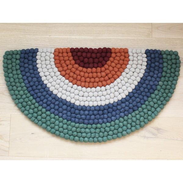 Dziecięcy wełniany dywan kulkowy Wooldot Ball Rugs Rainbow Green