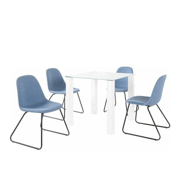 Sada stolu a 4 modrých židlí Støraa Dante Colombo