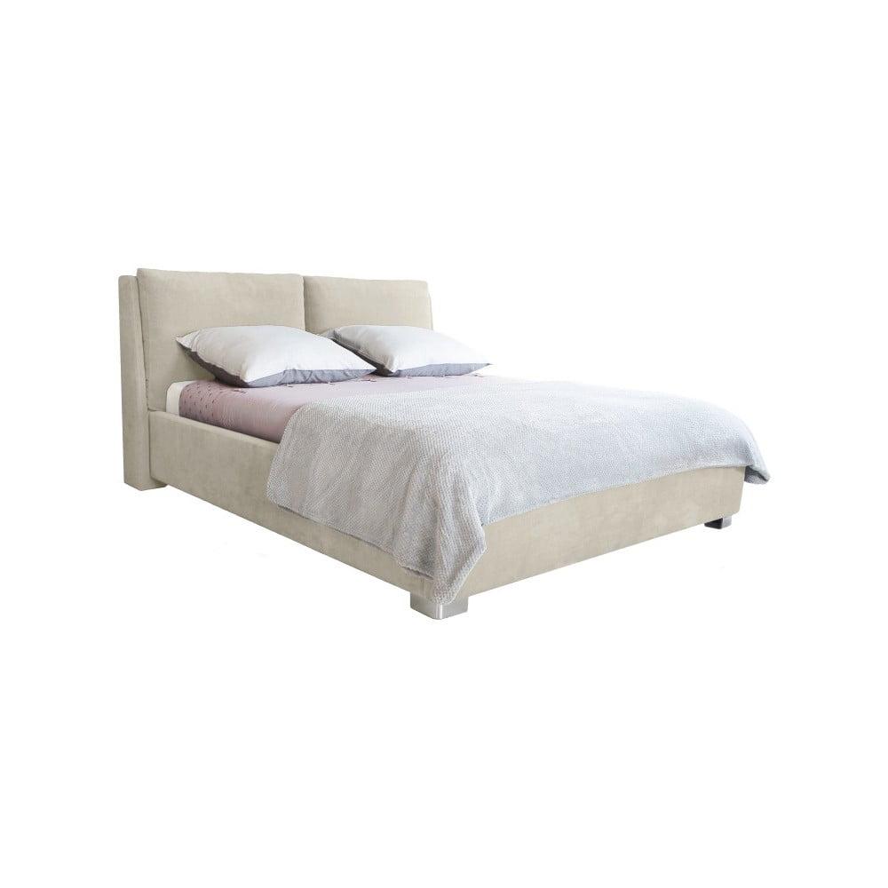 Béžová dvoulůžková postel Mazzini Beds Vicky, 160 x 200 cm