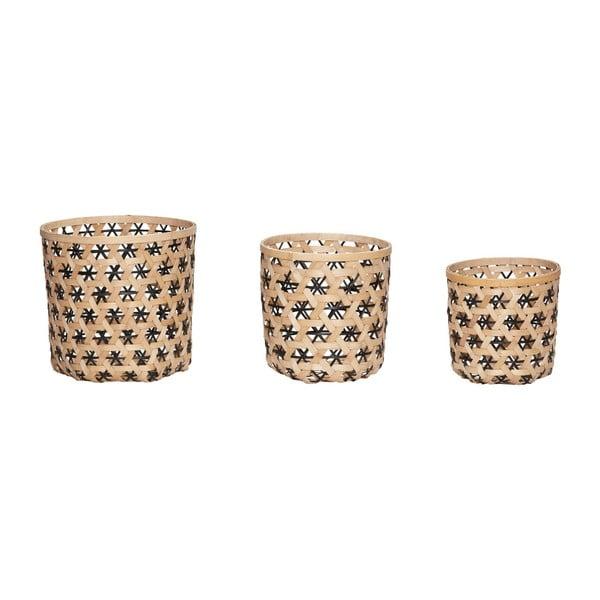 Sada 3 úložných košíků z bambusu Hübsch Bamboo