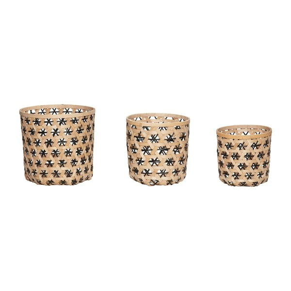 Komplet 3 koszyków z bambusu Hübsch Bamboo