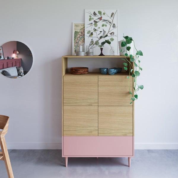Růžová komoda v dekoru dubového dřeva Symbiosis Horizon