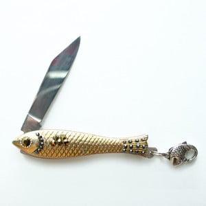 Český nožík rybička, zlatý s tmavými krystaly