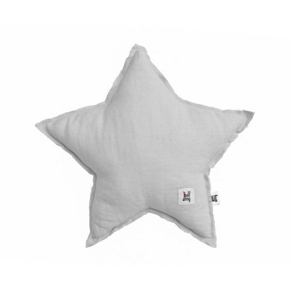 Szara lniana poduszka dziecięca w kształcie gwiazdki BELLAMY Stone Gray