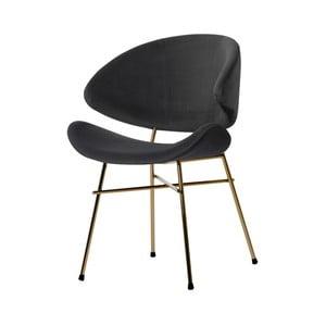 Tmavě šedá židle nohami ve zlaté barvě Iker Cheri