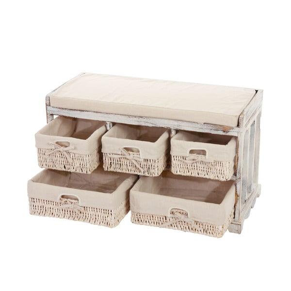 Băncută cu sertare de depozitare Shabby, albă
