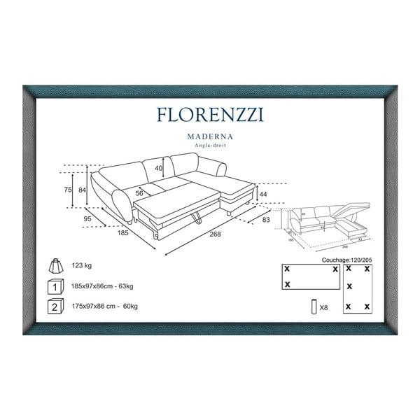 Hnědá rozkládací pohovka Florenzzi Maderna s lenoškou na pravé straně