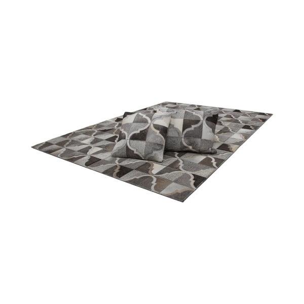 Kožený polštář Eclipse Grey, 45x45 cm
