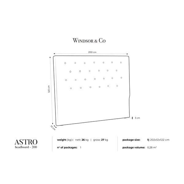 Fialové čelo postele Windsor & Co Sofas Astro, 200 x 120 cm