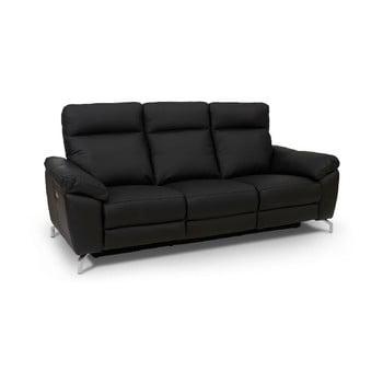 Canapea din piele cu 3 locuri Furnhouse Selesta negru