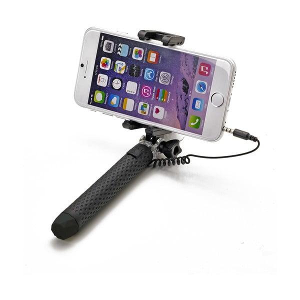 Černá selfie tyč Celly Mini selfie, spoušť přes 3.5mm jack