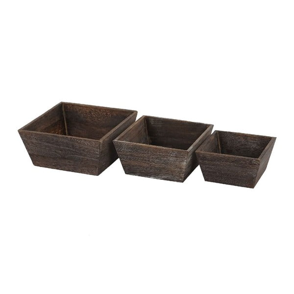 Sada 3 hnědých dřevěných misek Mendler Shabby Vintage