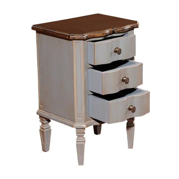 Noční stolek se 3 zásuvkami Transilvania Belgique Grey