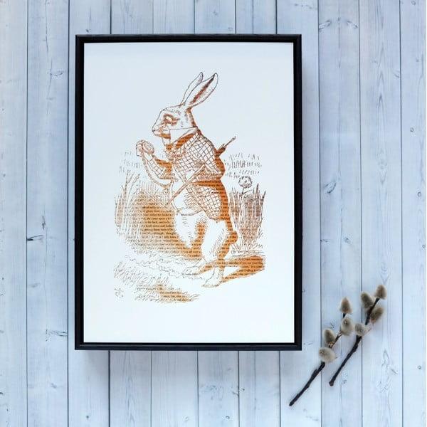 Plakát v dřevěném rámu Alice in Wonderland White Rabbit