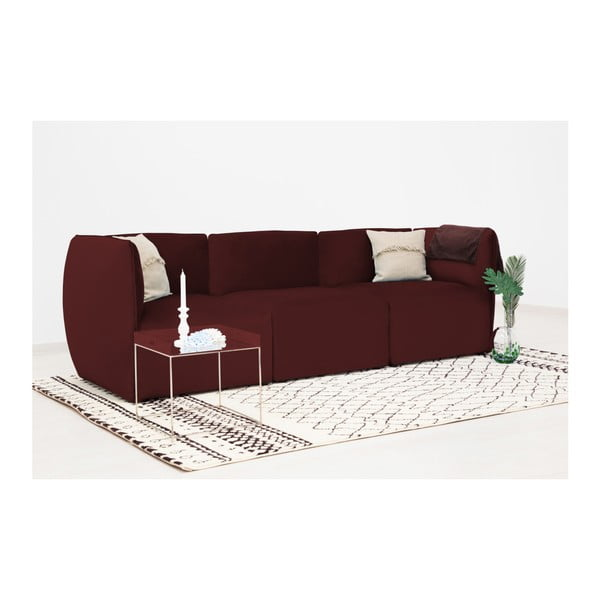 Vínově červený prostřední modul pohovky Vivonita Velvet Cube