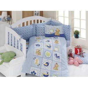 Set dětského povlečení a prostěradla Blue Teddy, 100x150 cm
