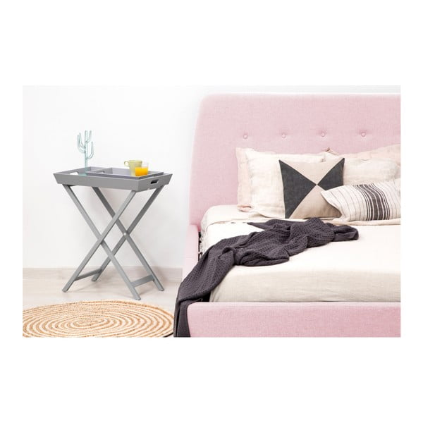 Pudrově růžová dvoulůžková postel s dřevěnými nohami Vivonita Mae Queen Size, 160 x 200 cm