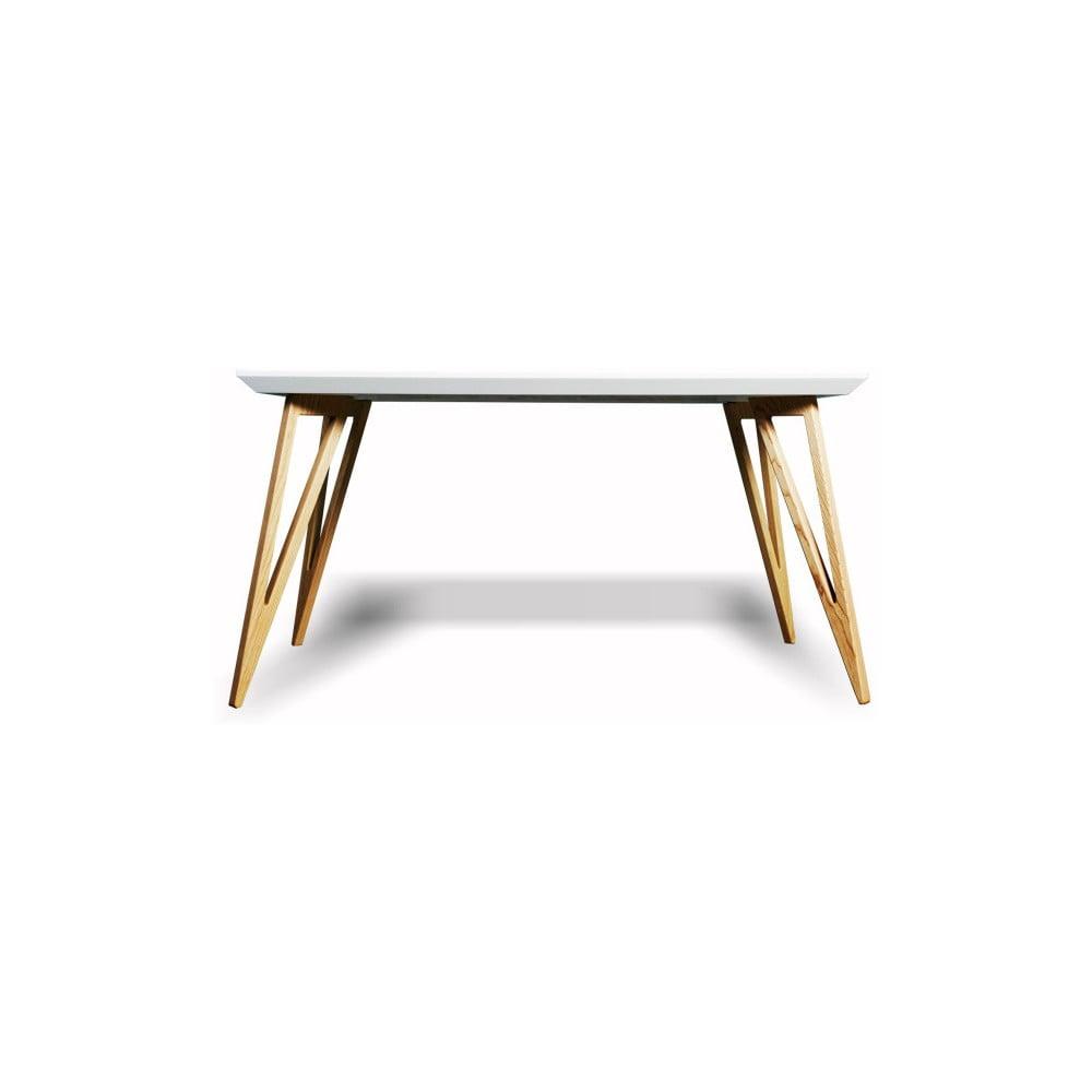 Jídelní stůl z masivního jasanového dřeva s bílou deskou Charlie Pommier Triangle, 140 x 80 cm