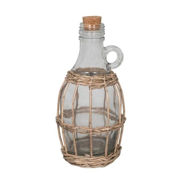 Butelka szklana w koszyku wiklinowym Antic Line Avec, wys. 22 cm