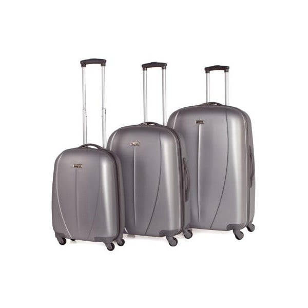 Sada 3 stříbrných cestovních kufrů Tempo