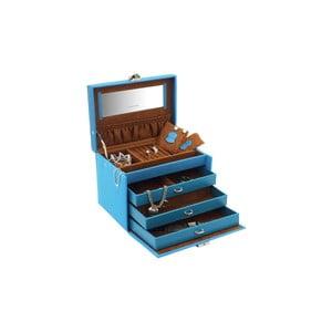 Casetă pentru bijuterii Friedrich Lederwaren Baccara, 21 x 15 cm, albastru