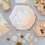 Sada 8 papírových talířů Neviti Gold Colour Block Marble, 20 cm