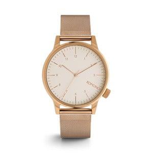 Pánské hodinky s kovovým páskem v barvě růžového zlata a bílým ciferníkem Komono Royale