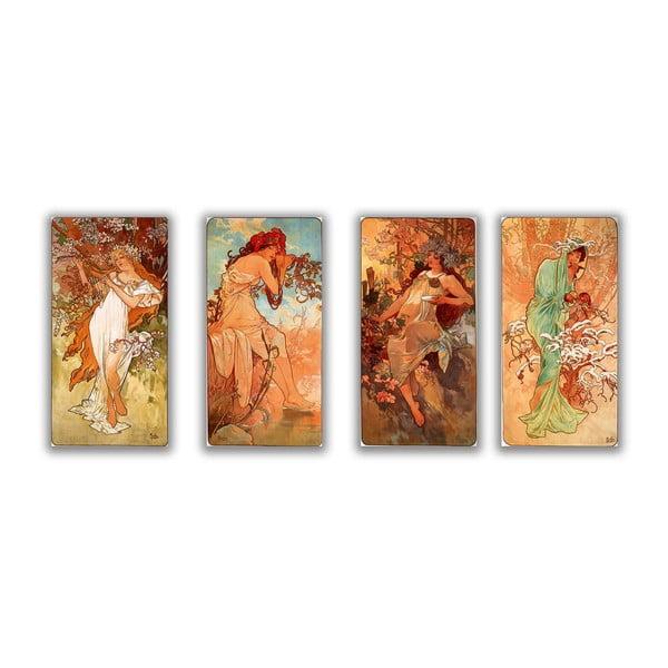 Sada 4 obrazů Four Seasons od Alfonse Muchy, 30x60 cm