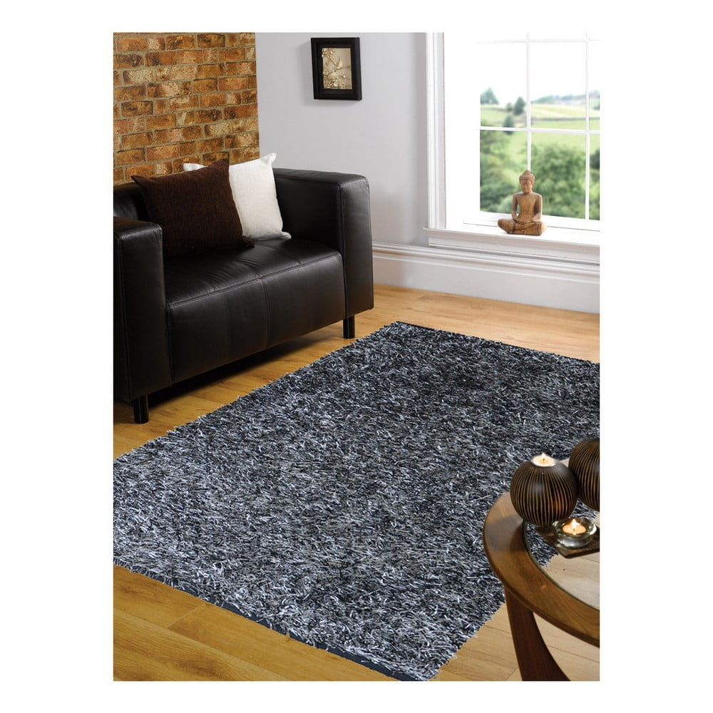 Černý koberec Webtappeti Shaggy, 140 x 200 cm