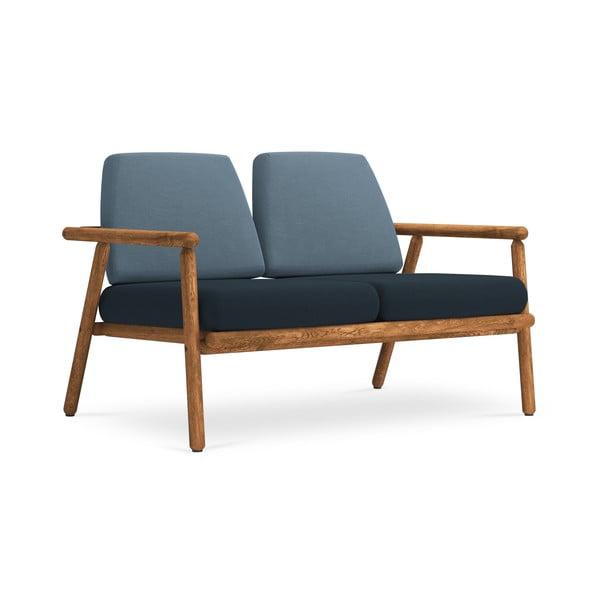 Canapea cu 2 locuri pentru exterior, construcție lemn masiv de salcâm Calme Jardin Capri, albastru - albastru închis