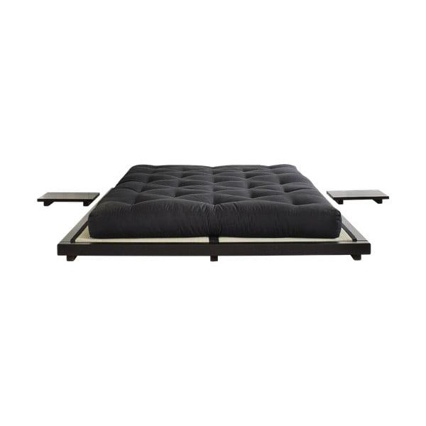 Dock fekete, borovi fenyőfa ágy, 160 x 200 cm - Karup Design