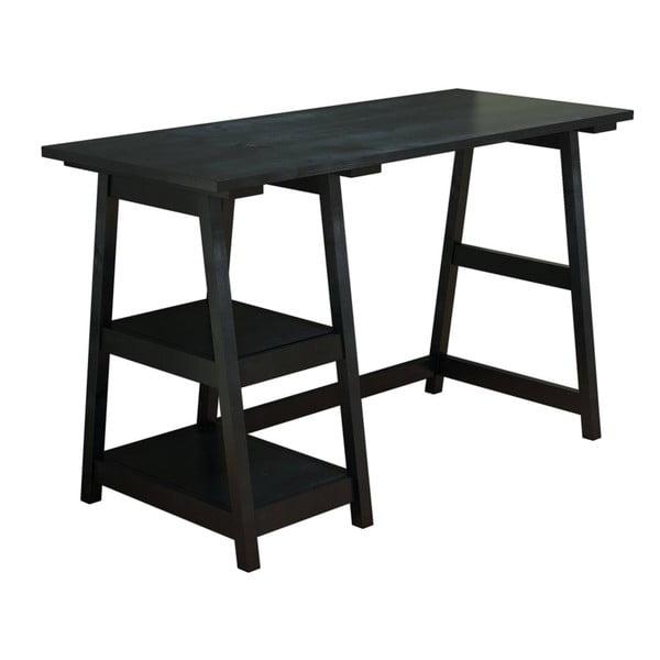 Czarne biurko z litego drewna sosnowego Perla