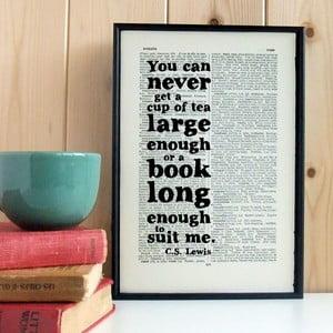 Plakát v dřevěném rámu CS Lewis Tea and Books