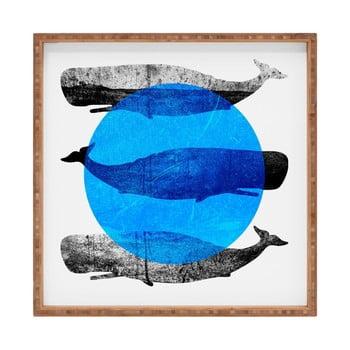 Tavă decorativă din lemn Whale, 40x40cm