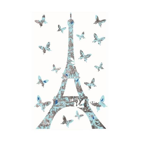 Samolepka na zeď Blue Eiffel Tower, 20x30 cm