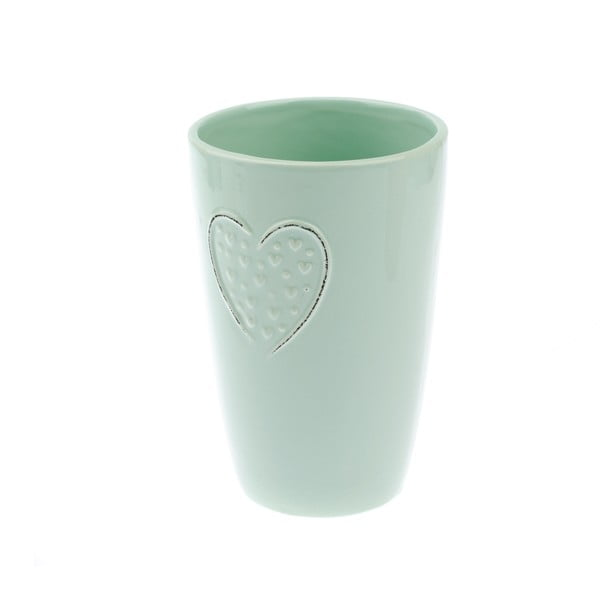 Jasnozielony wazon ceramiczny Dakls Hearts Dots, wys. 18,3 cm
