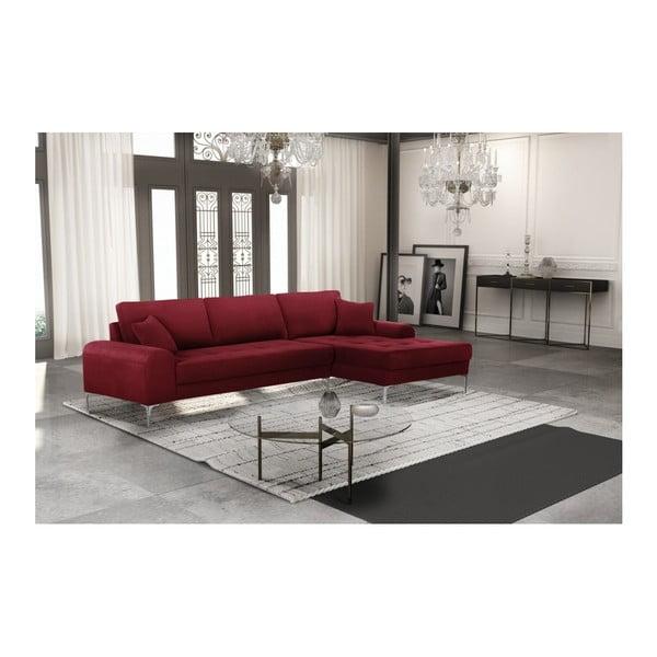 Set canapea roșie cu șezlong pe partea dreaptă, 4 scaune crem și saltea 160 x 200 cm Home Essentials