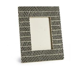 Černý keramický fotorámeček Simla Fishbone, 23x18cm
