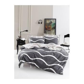 Lenjerie de pat cu cearșaf din bumbac ranforce, pentru pat dublu Mijolnir Novia Grey, 200 x 220 cm de la Mijolnir